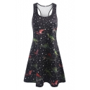 Dinosaur Star Printed Round Neck Sleeveless Midi A-Line Dress