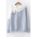 Color Block Long Sleeve Rabbit Pattern Casual Hoodie