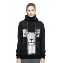 Lion Letter Printed Long Sleeve Sports Hoodie for Couple