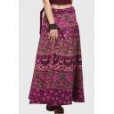 Tie Waist Tribal Printed Maxi A-Line Skirt