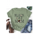 BLACK CAT Letter Printed Round Neck Short Sleeve Graphic T-Shirt