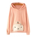 Rabbit Pattern Pocket Front Long Sleeve Leisure Hoodie