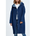 Button Front Plain Long Sleeve Tunic Denim Hooded Coat