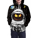 Pumpkin Astronaut Printed Long Sleeve Oversized Hoodie