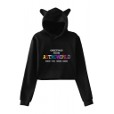 Cat's Ears Pattern Hood Letter Printed Long Sleeve Crop Hoodie