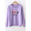 BE SMILE Letter Cat Embroidered Round Neck Long Sleeve Sweatshirt