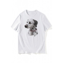 Painting Dog Printed Leisure Round Neck Short Sleeve T-Shirt