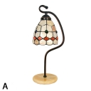 Handmade Natural Shell Tiffany Table Lamp with Metal Bent Arm in Rustic Style 3 Designs Available