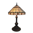 Stained Glass Conical Shade Mission Style Tiffany Table Lamp for Study Room Bedroom