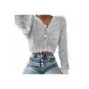 Button Front Plain Long Sleeve V Neck Faux Fut Crop Cardigan