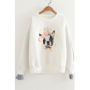 Dog Letter Printed Pearl Embellished Fake Two Pieces Round Neck Long Sleeve Sweatshirt