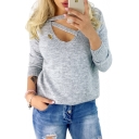 Hollow Out Front V Neck Long Sleeve Plain Ribbed Sweater