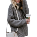 High Neck Long Sleeve Dropped Shoulder Plain Loose Warm Sweater