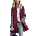 Stand Up Collar Long Sleeve Single Breasted Color Block Tunic Coat