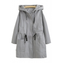Relaxed Zip Up Long Sleeve Plain Tunic Hooded Coat