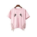 Lovely Cartoon Eye Printed Lace Up Detail Side Round Neck Short Sleeve Tee