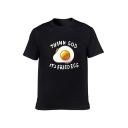 THANK GOD Letter Egg Printed Round Neck Short Sleeve T-Shirt