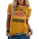 Contrast Trim SUNSHINE Letter Graphic Printed Round Neck Short Sleeve T-Shirt