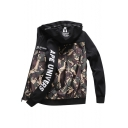 Contrast Camouflage Letter Printed Long Sleeve Zip Up Hooded Jacket
