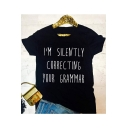 I'M SILENTLY Letter Printed Round Neck Short Sleeve T-Shirt