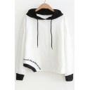 Letter Embroidered Contrast Hood Long Sleeve Asymmetric Hem Hoodie