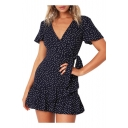 Polka Dot Printed V Neck Short Sleeve Ruffle Detail Mini A-Line Dress