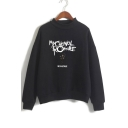 Mock Neck Letter Character Printed Long Sleeve Sweatshirt