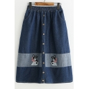 Dog Embroidered Color Block Elastic Waist Button Front Midi A-Line Denim Skirt