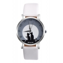 Leisure Letter Cat Pattern Leather Quartz Watch