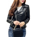 Notched Lapel Collar Plain Offset Zip Closure Crop Leather Jacket