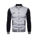 Letter Printed Color Block Stand Collar Long Sleeve Button Front Baseball Jacket