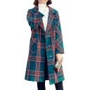 Plaid Printed Notched Lapel Collar Long Sleeve Single Breasted Tunic Coat