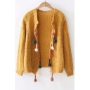 Pom Pom Embellished Collarless Open Front Long Sleeve Cardigan