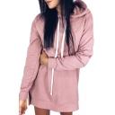 Plain Long Sleeve Casual Mini Hooded Dress