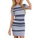 Contrast Striped Pattern Round Neck Short Sleeve Mini Bodycon Knit Dress