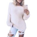 Round Neck Long Sleeve Plain Crop Plush Sweater