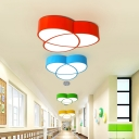 Acrylic Pendant Lamp with Geometric Shade Modernism Blue/Green/Yellow/Red LED Suspended Lamp for Children