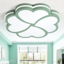 Acrylic Ceiling Fixture with Clover Shape Green 1 Light Flushmount for Baby Children Room