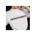 FUCK OFF Letter Printed Round Neck Short Sleeve T-Shirt