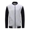 Color Block Stand Up Collar Long Sleeve Zip Up Jacket