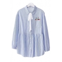 Fruit Embroidered Pocket Striped Printed Long Sleeve Bow Tie Lapel Collar Button Front Blouse