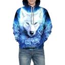 3D Rose Wolf Printed Long Sleeve Unisex Hoodie