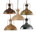 Industrial Style 1 Light LED Pendant Ceiling Lamp with Metal Dome Shade 5 Designs for Option