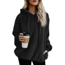 Faux Fur Long Sleeve Plain Loose Hoodie