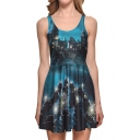 Castle Landscape Printed Round Neck Sleeveless Mini A-Line Dress