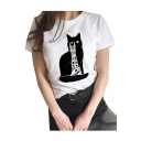 Cartoon Cat Building Printed Round Neck Short Sleeve T-Shirt