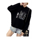 Casual Cactus Printed Long Sleeve Relaxed Fit Hoodie
