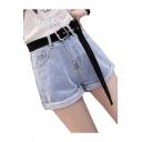 Chic Zip Fly Plain Roll Cuff Hot Pants Denim Shorts