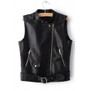 Stand Up Collar Zipper Embellished Sleeveless Zip Up PU Vest