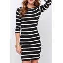 Round Neck 3/4 Length Sleeve Slim Mini Pencil Dress